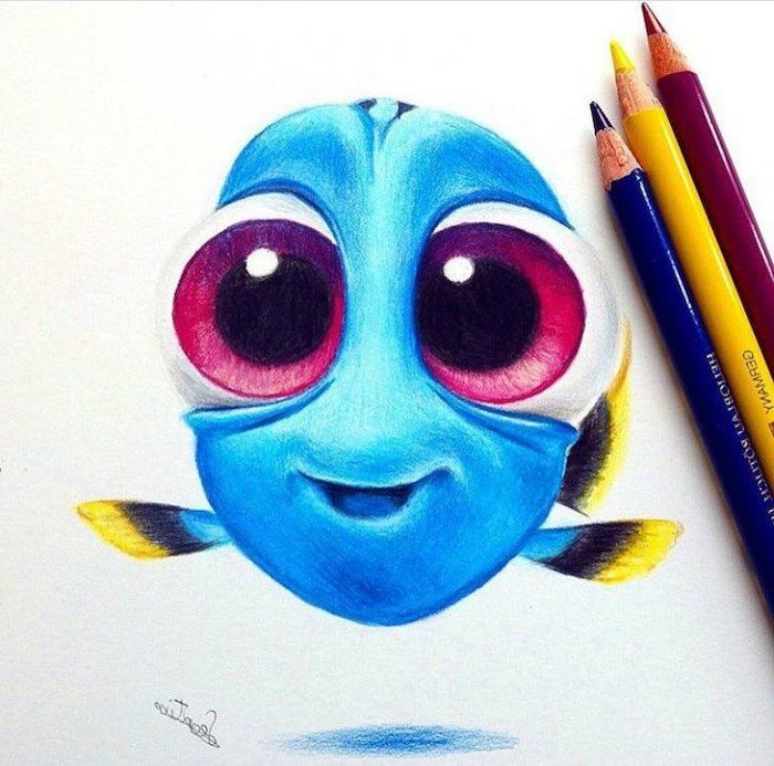 Finding Dory Colourful Pencil Sketch Easy Things To Draw Step By Step Coloured Pencils In 2020 Colorful Drawings Color Pencil Sketch Pencil Drawings Easy