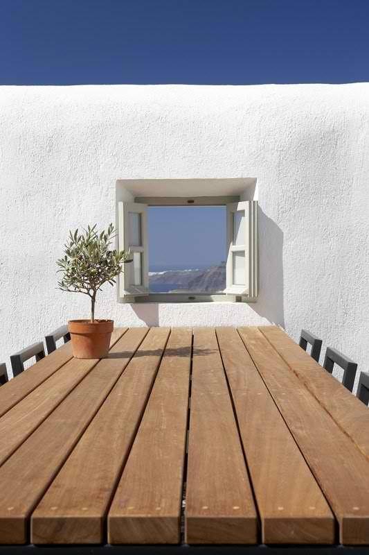 vistaBeach House, House Villas, Greece, Mediterranean Living, Wood Tables, Windows, Vacations House, Villas Fabrica, Santorini