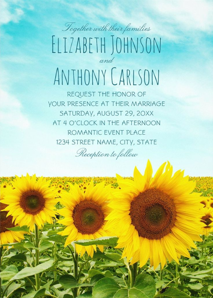 Sunflower Field Wedding Invitations Rustic Country Farm Wedding Invites. Feature a big and beautiful sunflower field and blue summer sky. A creative text typography you can customize. Country style wedding invitations for rustic, summer, country, barn, farm or any wedding, traditional or unusual. You can customize these wedding invitations online. Order your first sample today. #weddinginvitations #countrywedding