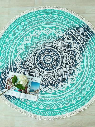 Mandala Print Fringe Trim Round Beach Blanket