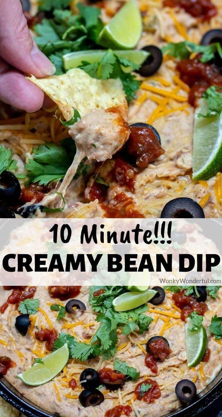 Cream Cheese Bean Dip 10 Minutes Wonkywonderful In 2020 Bean Cheese Dip Appetizer Recipes Cream Cheese Bean Dip