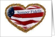 Fourth of July, July 4th,U.S. Flag in Gold Fringed Heart, Marine, Semper Fidelis Card by Greeting Card Universe. $3.00. 5 x 7 inch premium quality folded paper greeting card. Support Our Troops greeting cards & photo cards are available at Greeting Card Universe. We have everything from custom cards to professionally designed cards. Look no further than Greeting Card Universe for your Support Our Troops card needs. This paper card includes the following themes: Semp...
