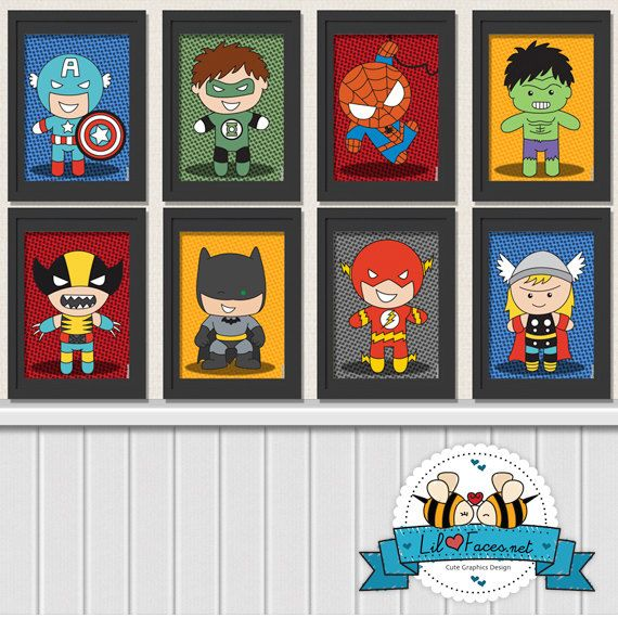 Bundle 5x7 Superhero Digital Art Prints - Printable Art Superhero Poster- Comics Pop art Logo Green Lantern, Superman, Batman, Hulk. $30.00, via Etsy.