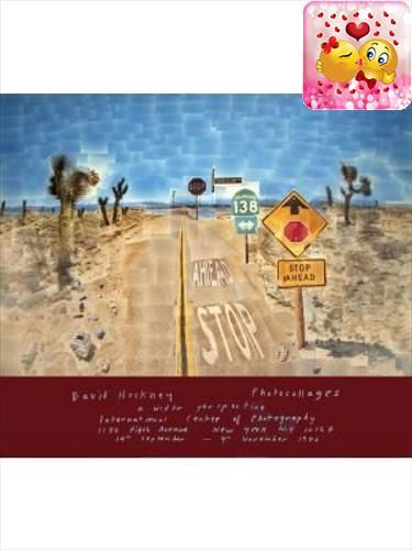 David Hockney- #Pearblossom #Highway: This is an original 1986 poster created by David Hockney for an exhibition held at the International Center of Photography i...