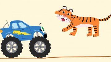 БИБИКА - Африканские животные - Тигр, Антилопа, Обезьяна, Слон - Развивающий мультик про машинки http://video-kid.com/10229-bibika-afrikanskie-zhivotnye-tigr-antilopa-obezjana-slon-razvivayuschii-multik-pro-mashinki.html  Развивающий мультфильм для детей, малышей про машинки и животных, серия 8, Африканские животные, часть 2. Бибика монстр-трак путешествует по Африке и встречает диких животных. Смотри, это изящная антилопа, а это обезьяна - она смешно ест банан, а вот рыжий и полосатый тигр…