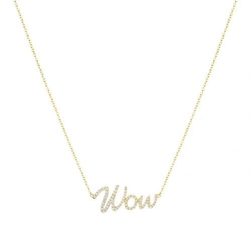 Wow necklace in yellow gold 18 k with white diamonds.