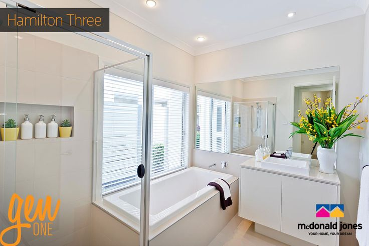 What do you think of this crisp bathroom? This is from our Hamilton Three…