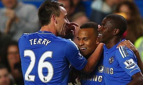 Chelsea's Ryan Bertrand is congratulted by team-mate John Terry after scoring at Stamford Bridge