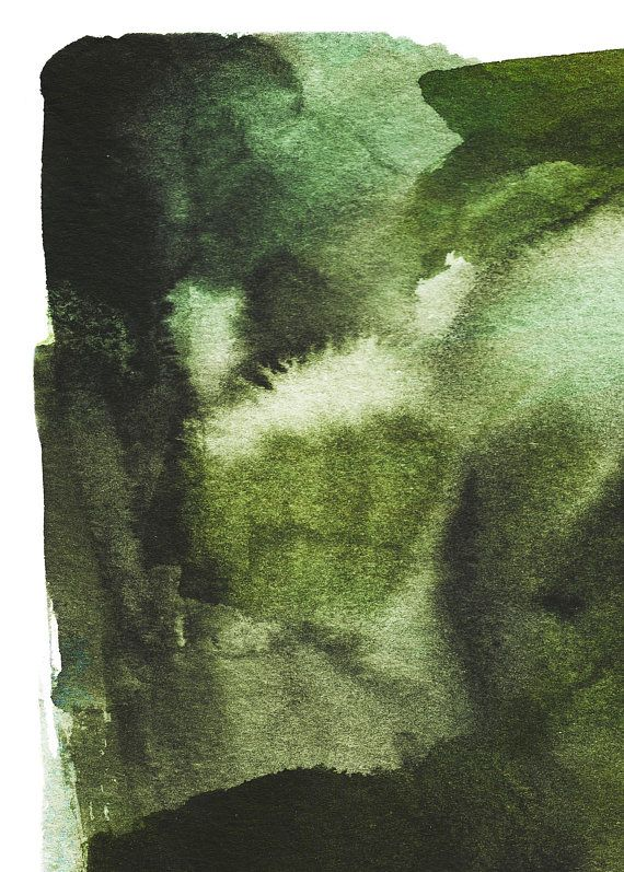 Dark Green Watercolor Art Forest Green Art Prints Dark Green
