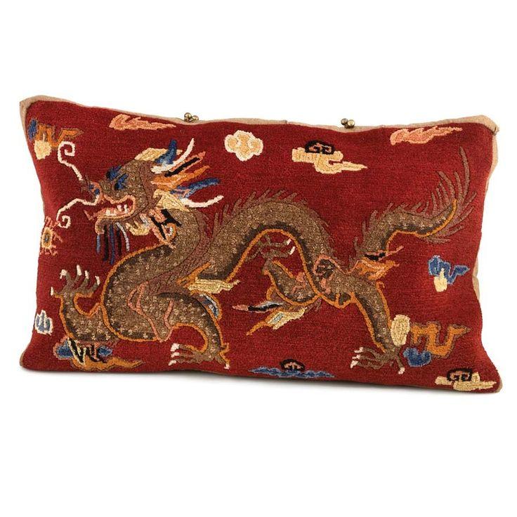 Dragon Carpet Pillow 23 x 14 Red - $295.00