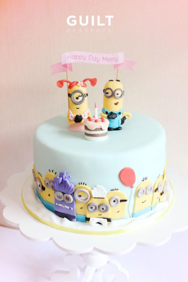 Another of my Minion Party cake! Banana cake with strawberry cream cheese inside.. Yumm! They loved the cake.. Thanks for looking!