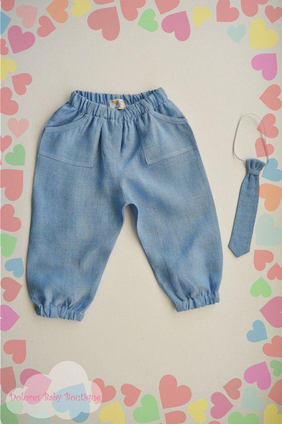 Baby Boy Pants Baby Boy Tie Baby linen by DoloresBabyBoutique