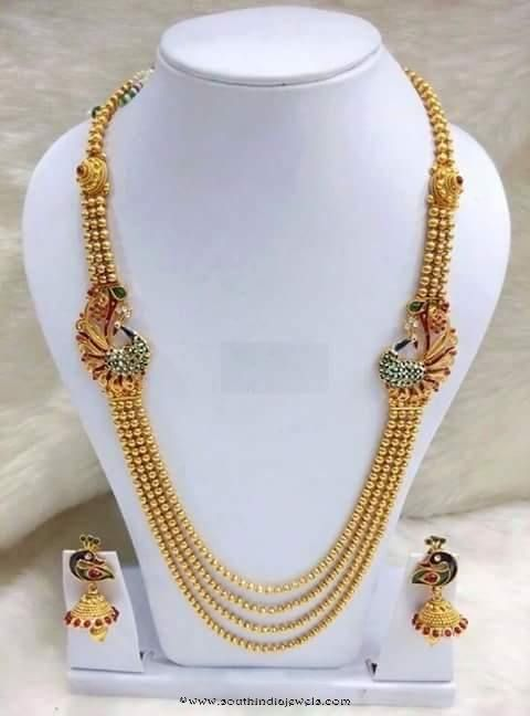 Multi Layer Long Haram with side mogappu and matching jhumkas