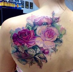 Back Shoulder Realistic Aquarelle Roses tattoo
