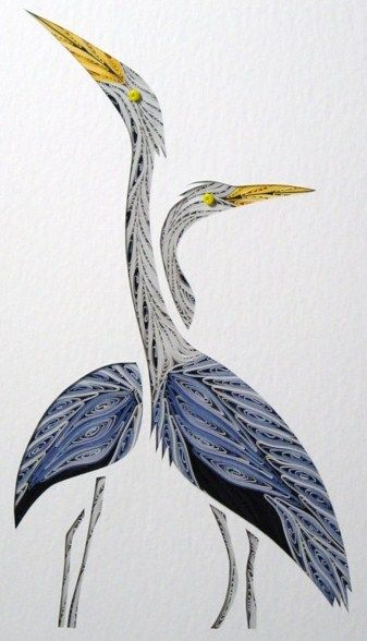 Twin Herons by Sandra White: Quilling