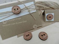 Personalised Wooden Hardwood Buttons For Invitations, Crafts, Vintage Weddings