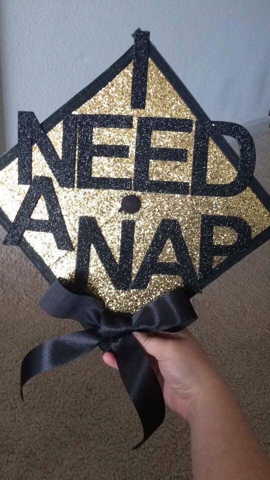 I need a nap black gold bow glitter grad cap