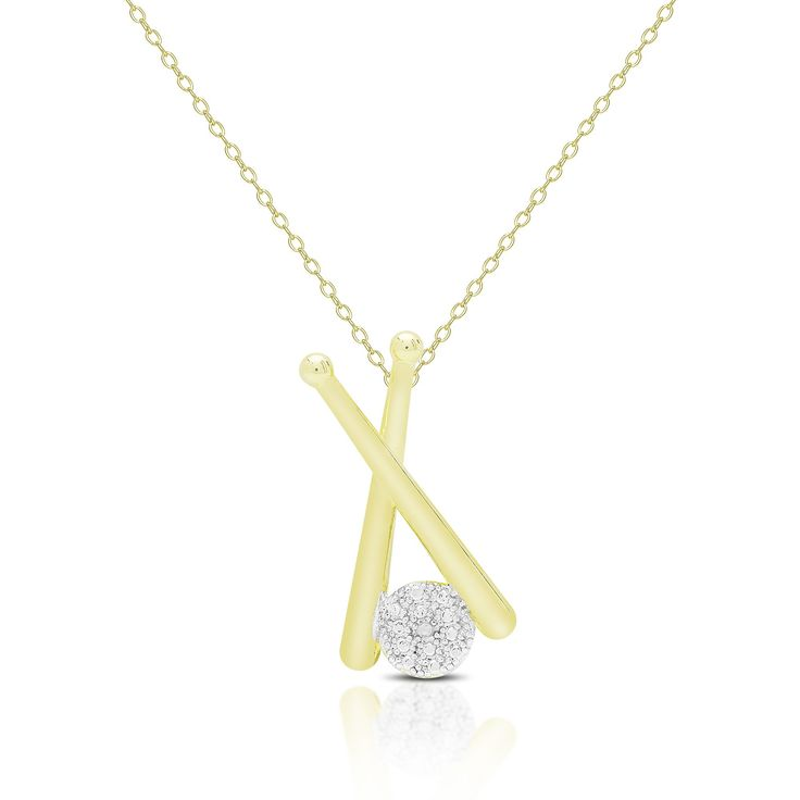Finesque Gold Overlay Diamond Accent Baseball Necklace (553OBN), Women's, Size: 18 Inch, Yellow