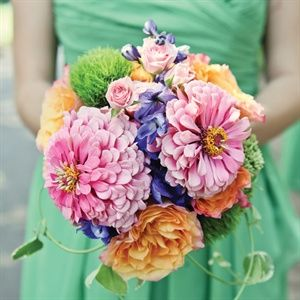Wedding bouquet- pink, blue, and orange floral mix-  Bridesmaid Bouquets - nosegay bouquet style
