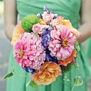 Wedding bouquet- pink, blue, and orange floral mix-  Bridesmaid Bouquets - nosegay bouquet style