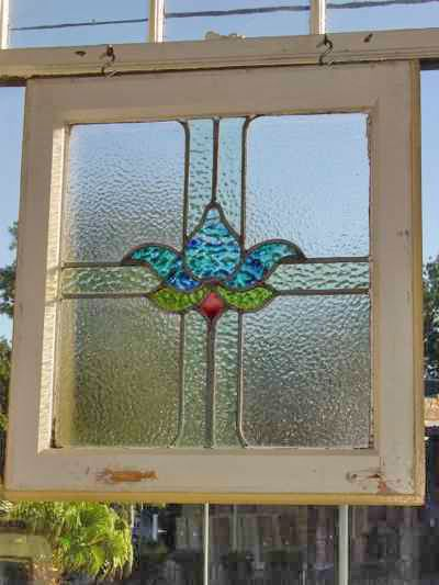 Mottled Blue Floral Antique Stained Glass Window