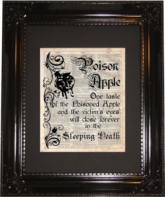 Poison Apple incantesimo dizionario arte stampa, dizionario d'epoca, Silhouette, Biancaneve Disney, Wall Decor, Wall Hanging, stampe d'arte, Cameo