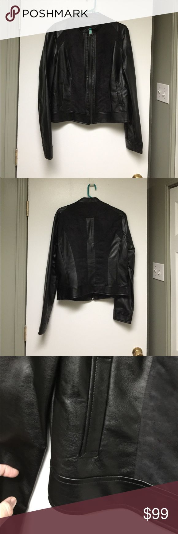 NWT Vegan leather and vegan suede motor jacket Black vegan leather and suede motorcycle jacket is made by Tart Collection. Size XL. Pit to pit measures 20 inches. Shoulder to hem measures 22 inches. Tart Collection Jackets & Coats