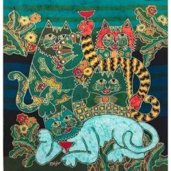 Batik Fabric Panel by Mahyar, Four Cats with Cocktails (small)