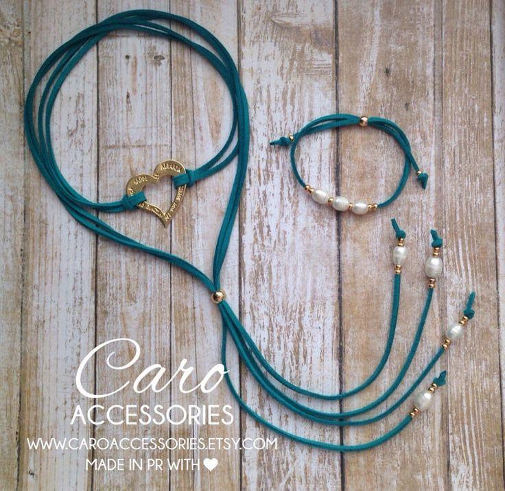 Blessed heart choker. Aquamarina choker set. by CaroAccessories