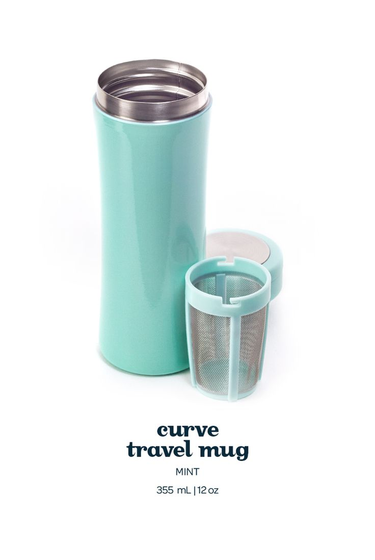 Curve Travel Mug - Cool Mint. Not only is this pretty light pink travel mug 100% leakproof, it also keeps your tea hot for hours on end.