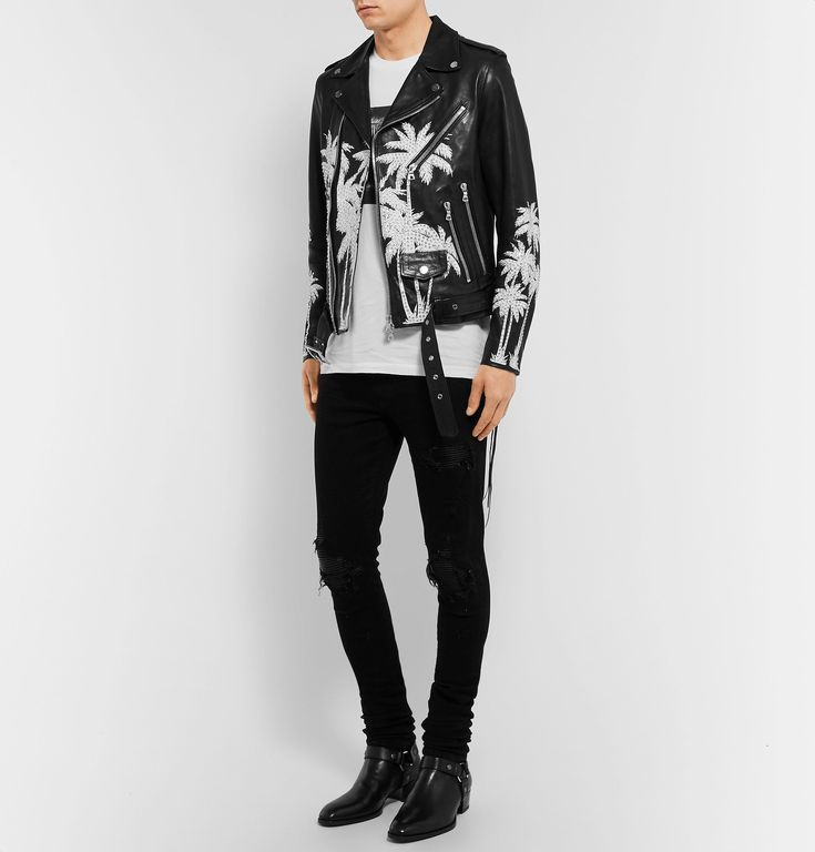 <b>Designed exclusively for MR PORTER.</b> <a href='http://www.mrporter.com/mens/Designers/Amiri'>AMIRI</a> specialises in streetwear-inspired clothing that captures a sense of refined rebellion. A testament to the brand's considered eye for detail, this custom-made biker jacket is crafted from flawless Italian vitellino leather that's hand-painted and encrusted by Mr Mike Amiri himself. The palm tree pattern is h...