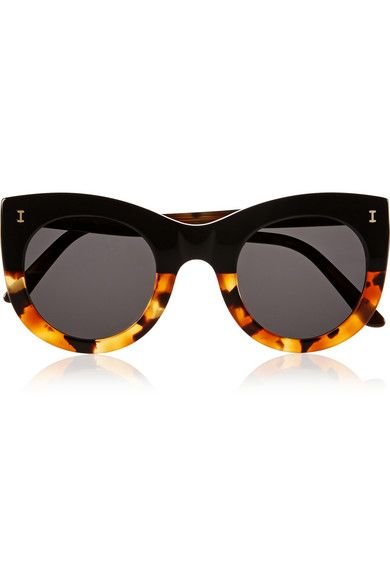 Illesteva's cat-eye 'Boca' sunglasses have a cool, retro feel. This pair has been handmade in Italy from acetate and is punctuated with tortoiseshell trims for touch of color. The gray lenses protect against the sun's rays - perfect for summer days. Shop it now at NET-A-PORTER
