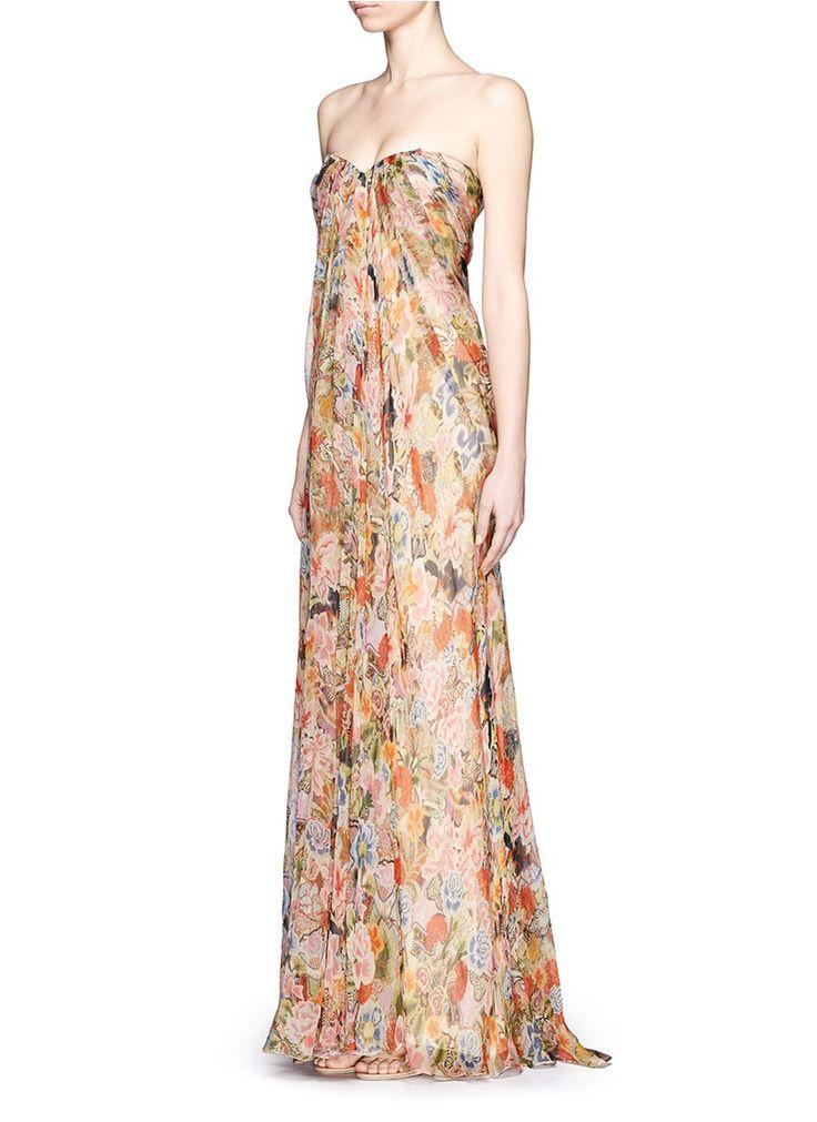 ALEXANDER MCQUEEN - Floral print silk chiffon strapless gown - on SALE   Multi-colour Evening Dresses   Womenswear   Lane Crawford - Shop Designer Brands Online