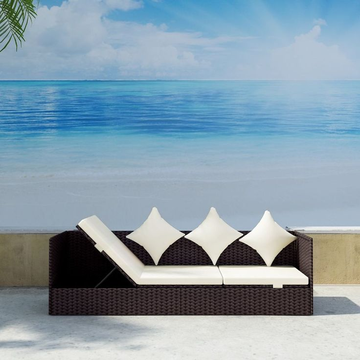 S Brown Rattan Garden Sun Bed Wicker Lounger Outdoor Recliner Adjustable Daybed