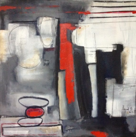 "Red is Love""  mix on canvas 80 x 80"