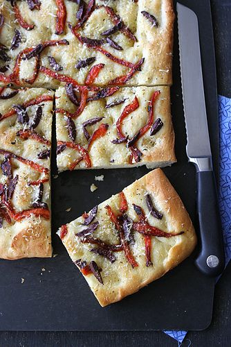 Focaccia Recipe with Roasted Red Peppers & Olives from Cookin Canuk. Made it with whole wheat flour, caramlized onions and sun-dried tomatoes. Delicious!