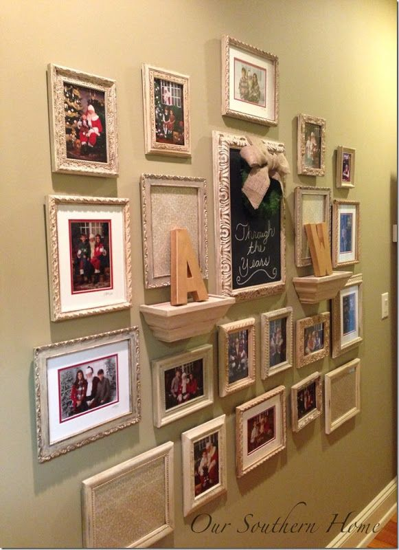 Gallery Wall {Santa Photos}  www.oursouthernhomesc.com