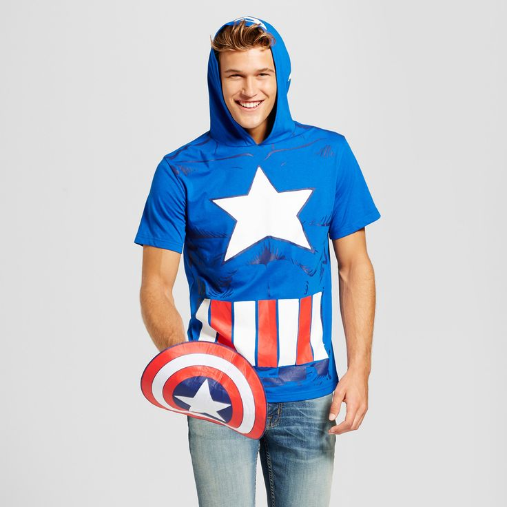 Men's Captain American with Hood and Removable Shield Graphic T-Shirt - Blue M