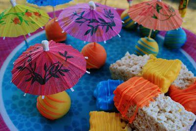Share Dessert: Luau Parasol Pops and Rice Krispie Treats {Cake Pops}