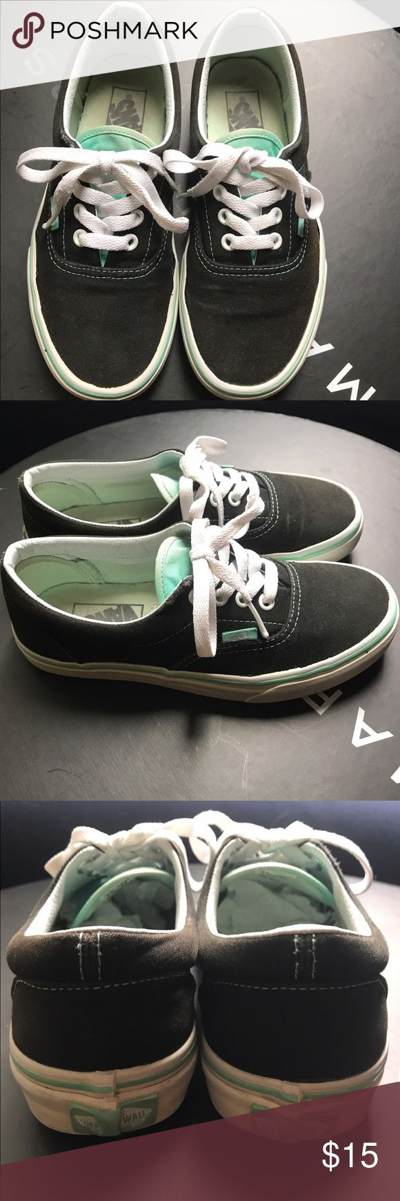 Black/ Mint Vans Lots of life left on the soles. Wear on tongues and some fading, but freshly cleaned and still in good condition. Vans Shoes Sneakers