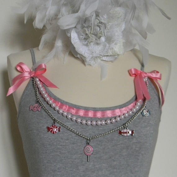 Spaghetti strap t-shirt embellished with pearls, ribbons, chain link and charms