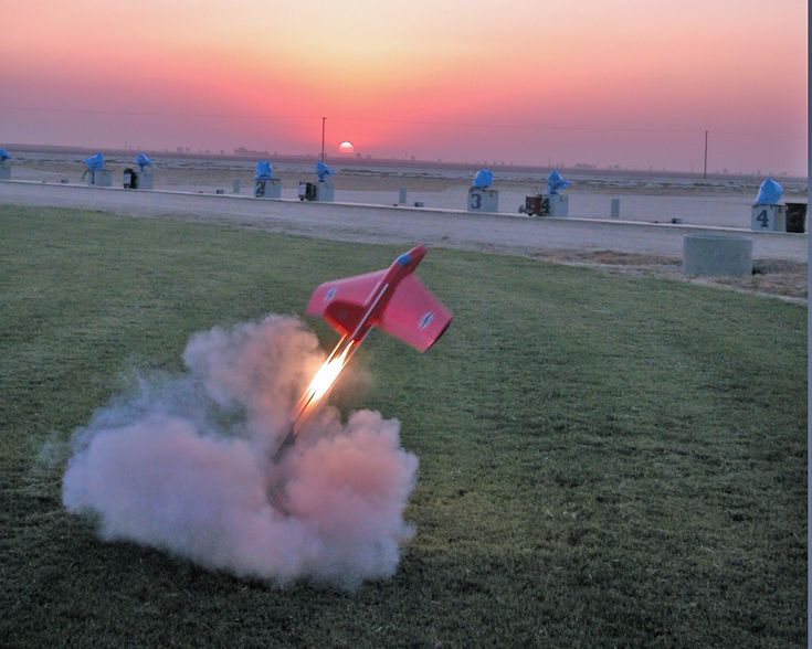 Radio Control Messerschmitt Me163 rocket glider sunset launch at Visalia Fall Soaring Festival.