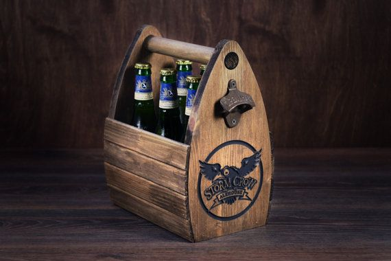 Wooden Beer Carrier with Logo Barware Bar Decor by GoodWoodGift