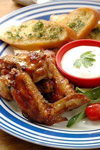 Sticky Chicken Winglets with Blue Cheese Dip
