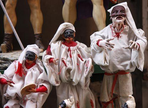 Via San Gregorio Armeno, Street of Nativity Workshops in Naples, Italy: Picture of Pulcinella in a Naples Shop