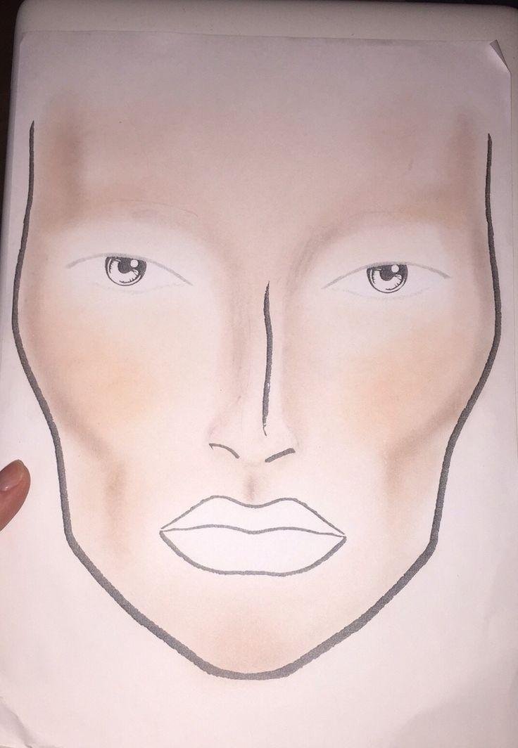 Ett halvklart ansiktskort. Bas, shading, highlighter och rouge.