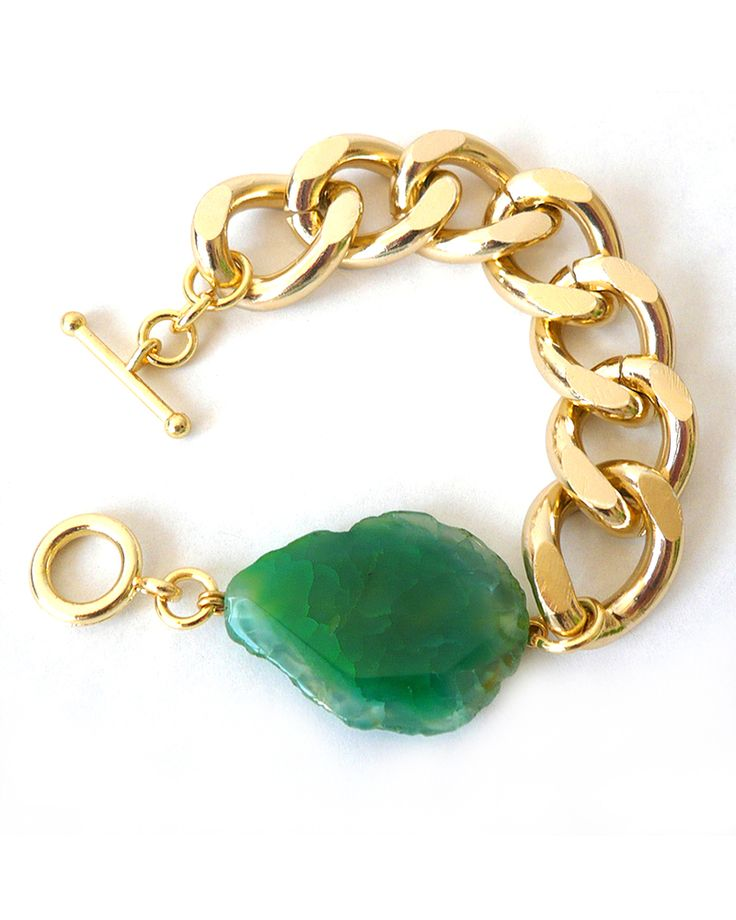 Gold Chunky Chain with Green Agate Bracelet -