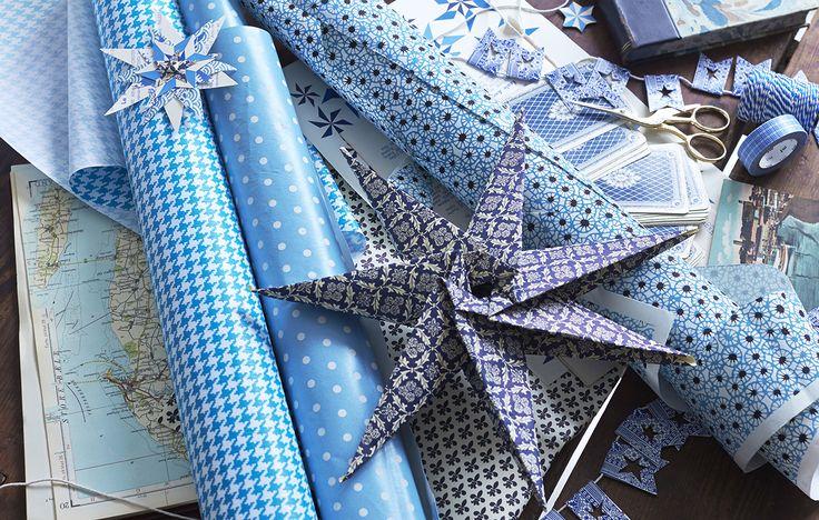 Decorazioni di Natale: stelle blu origami
