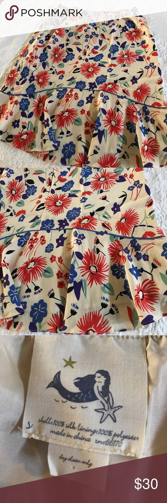 Anthropologie multi color skirt Super flattering and comfortable silk skirt from Anthropologie, I believe this is a medium, I'm an 8 and it fits. The colors are gorgeous and mermaid type style so flattering. In excellent condition. Fully lined. Anthropologie Skirts Midi