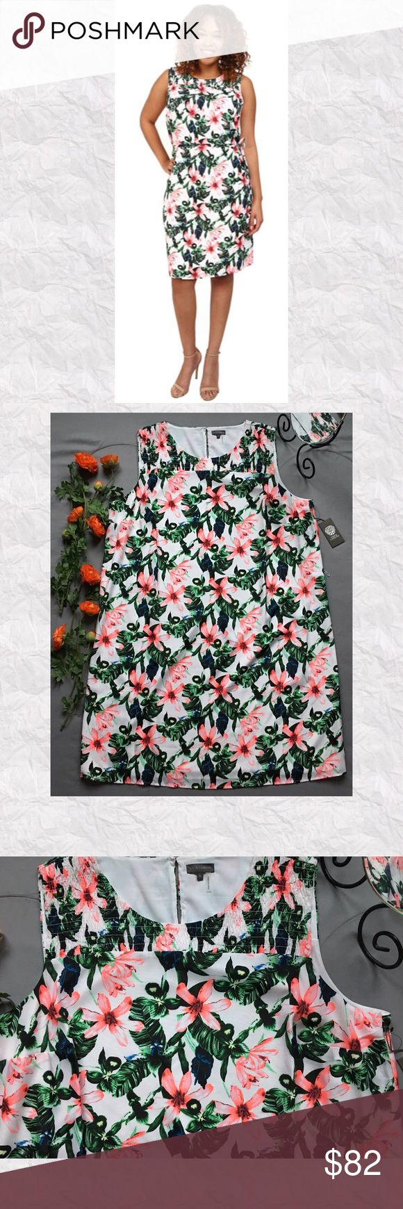 """Vince Camuto Tropical Jungle Lilly Shift Dress *SALE IS FOR DRESS ONLY!!   *Condition: NWT. NO BELT. *Neckline: Smocked Crew Neck  *Smocking across back neckline *Sleeve style: Sleeveless *Silhouette: Shift *Pockets: No *Closure: Popover; buttons at nape *Shell: 100% Polyester  *Lining: 100% Polyester  *Care: Machine wash *Measurements are approx & taken lying flat *Bust: 52"""" *Waist: 56"""" *Hip: 58"""" *Shoulder to hem: 42"""" *Stored in non-smoking pet free home Vince Camuto Dresses"""